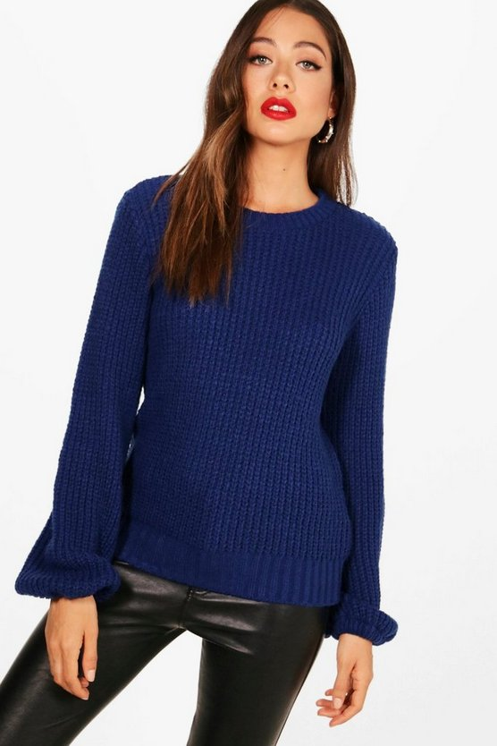 Blouson Sleeve Soft Knitted Jumper