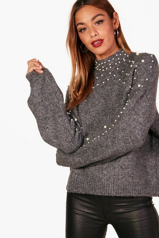Laura Pearl Detail Knitted Jumper
