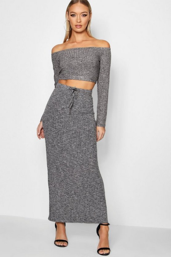 Tilly Knitted Ribbed Maxi Skirt And Top Set
