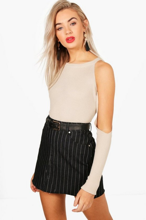 Cold Shoulder Knitted Rib Top