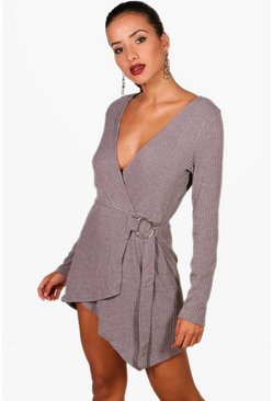 Womens Grey Knitted O Ring Wrap Detail Dress