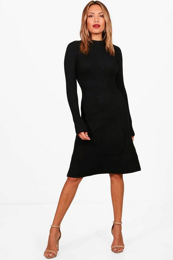 Womens Knitted Rib Midi Dress