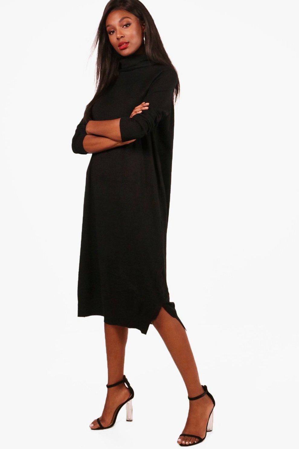 e6548cbd2352f Maisy Roll Neck Knitted Midi Dress   Boohoo