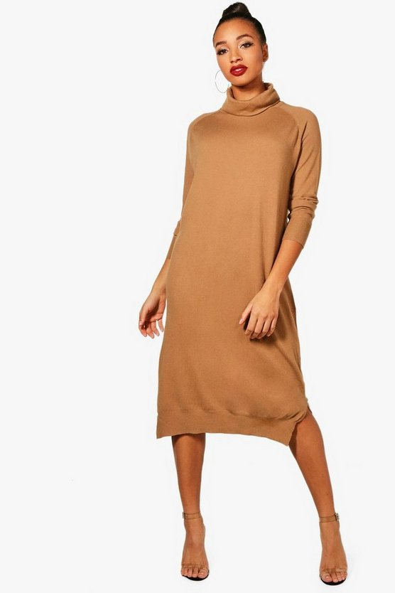 Maisy Roll Neck Knitted Midi Dress