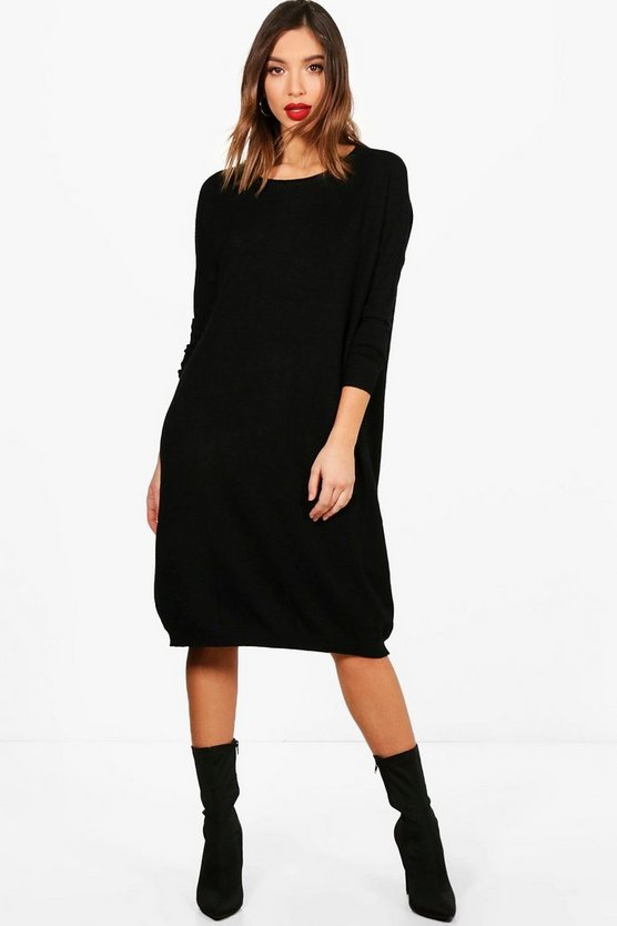 Charlie Oversized Knitted Midi Dress, Black, Donna