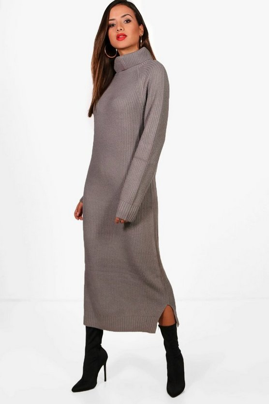 Emily Chunky Knitted Roll Neck Midaxi Dress