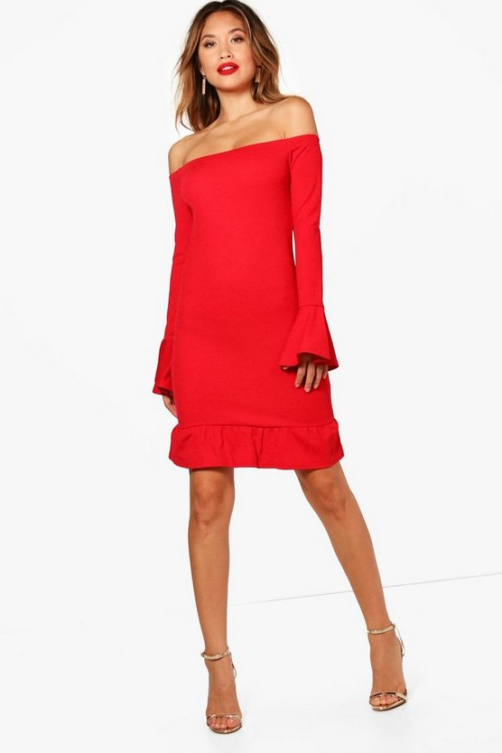 Si Ruffle Hem & Sleeve Bardot Bodycon Dress