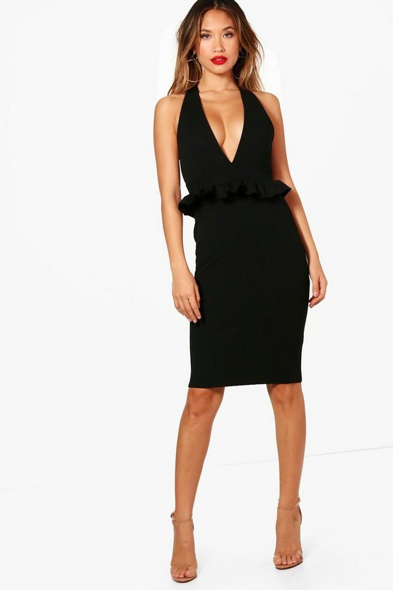 Frill Front Plunge Bodycon Midi Dress