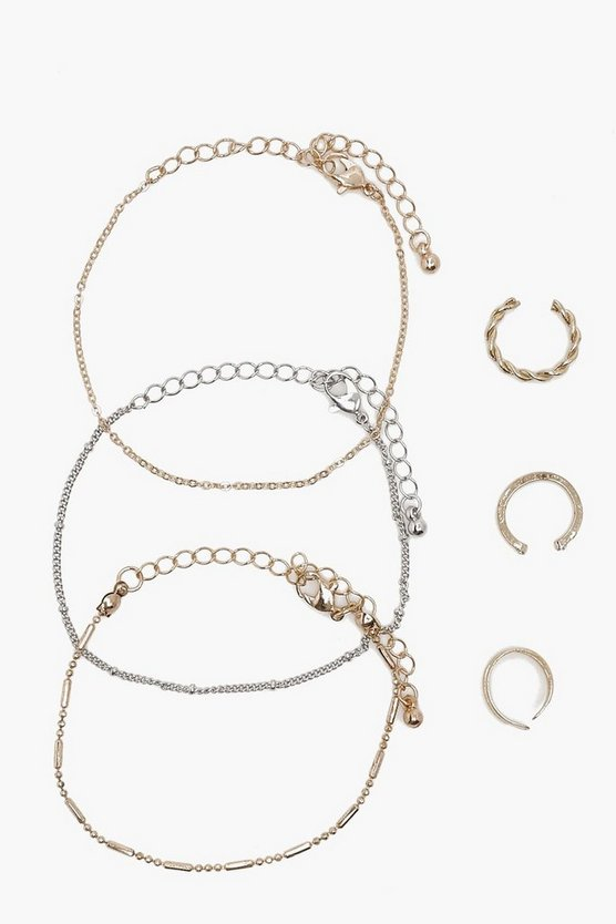 Delicate Bracelet And Ring 6 Pack