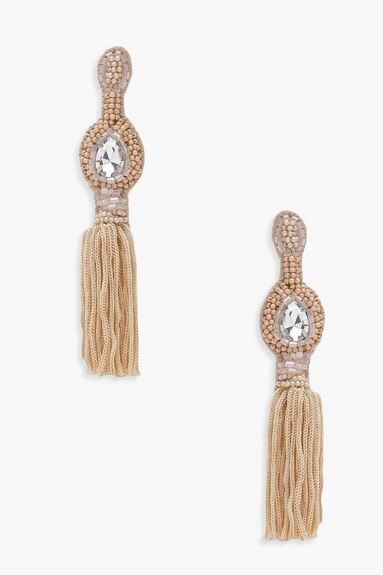 Hannah Diamante Bead And Tassel Earrings