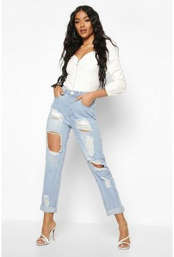 High-Waist Mom-Jeans in Destroyed-Optik, Hellblau