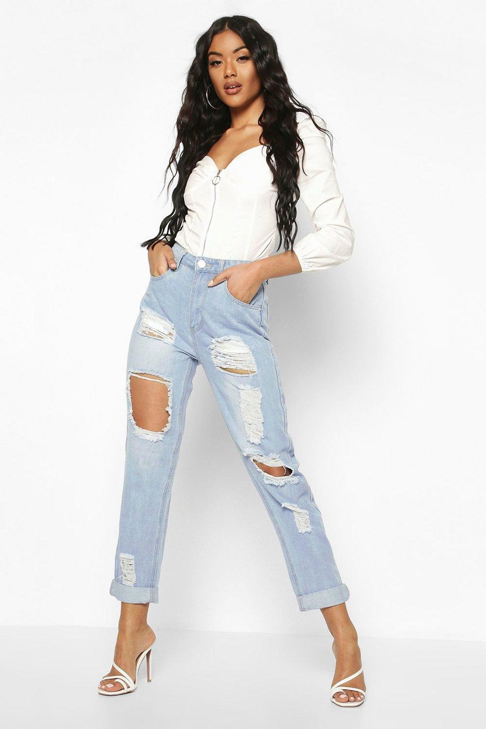 f68f8f48c809 High Waist Distress Mom Jeans   Boohoo