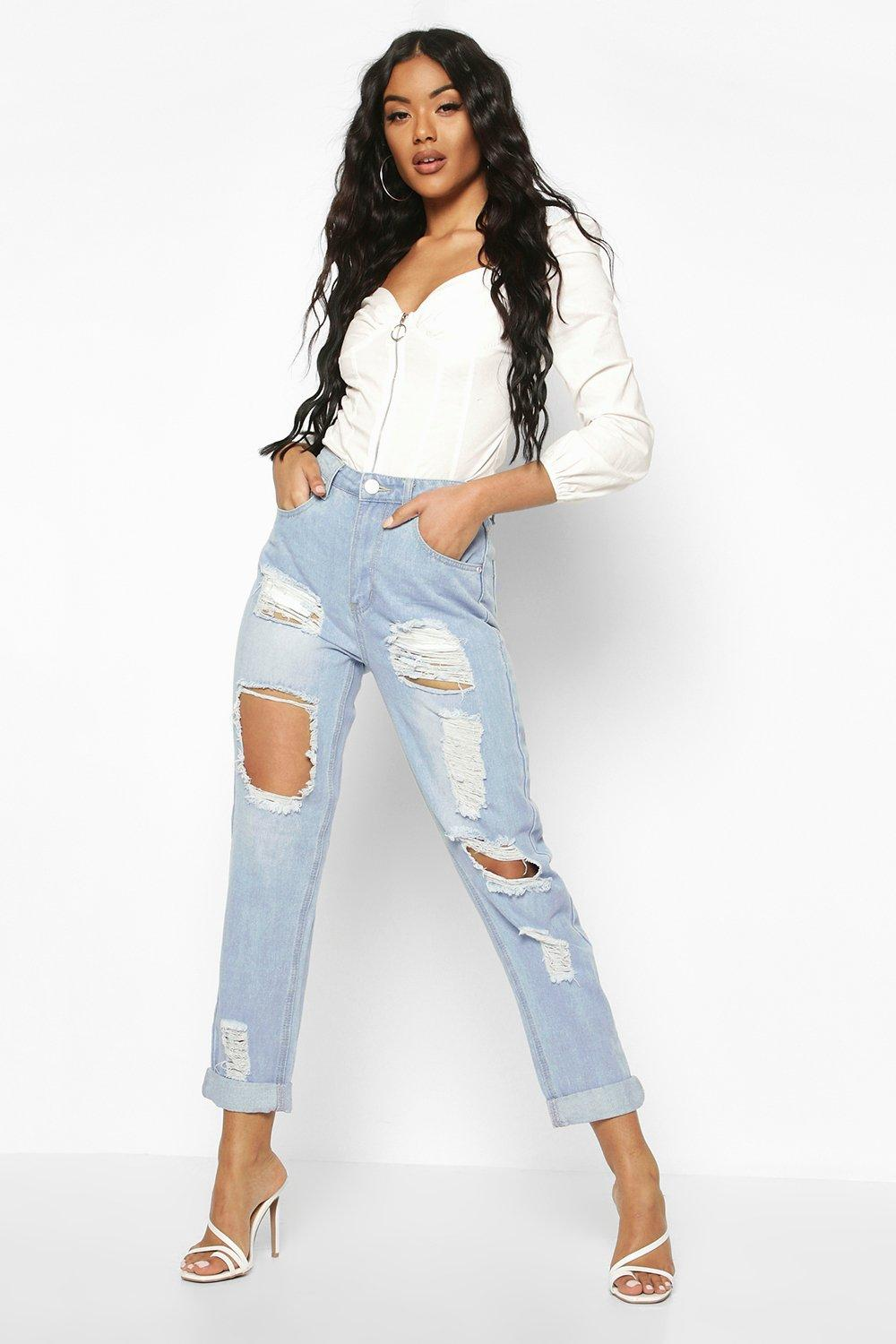 factory price top-rated official sells High Waist Distress Mom Jeans | Boohoo