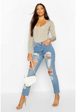 High-Waist Mom-Jeans in Destroyed-Optik, Mittelblau, Damen