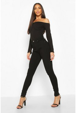Womens Black High Waisted Classic Stretch Skinny Jeans