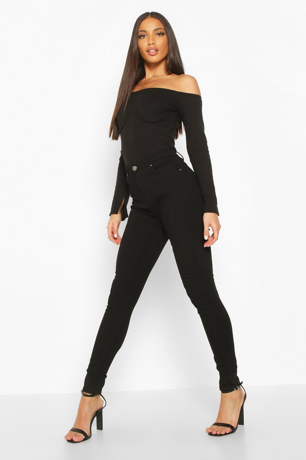 b748ce575f66 Womens Black High Waisted Classic Stretch Skinny Jeans. Hover to zoom