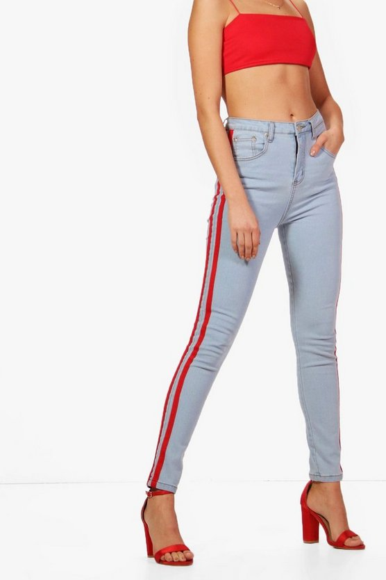 High Rise Sports Tube Jeans