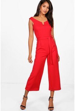 Womens Red Belted Jumpsuit