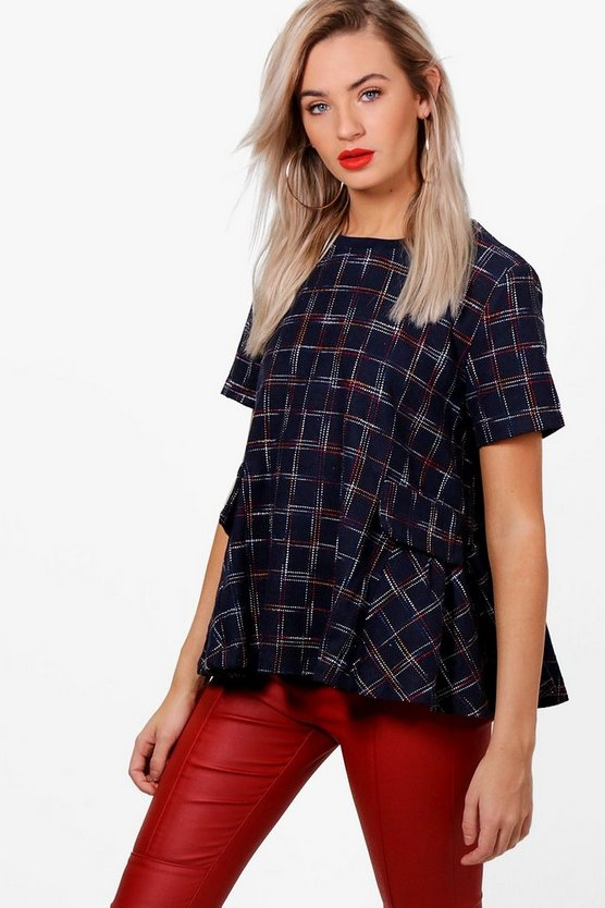 Brushed Check Peplum Boxy Top