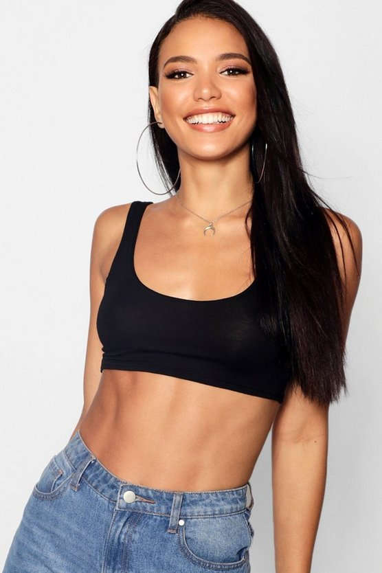Womens Basic Scoop Neck Crop Top