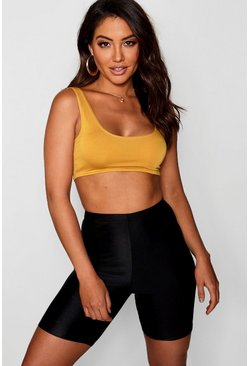 Womens Mustard Basic Square Neck Bralet