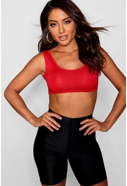 Womens Red Basic Square Neck Bralet