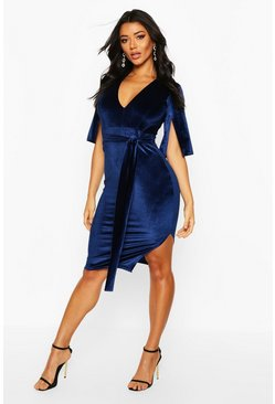 Womens Navy Sally Velvet Tie Waist Kimono Midi Dress