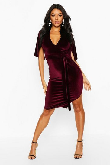 Raspberry Sally Velvet Tie Waist Kimono Midi Dress