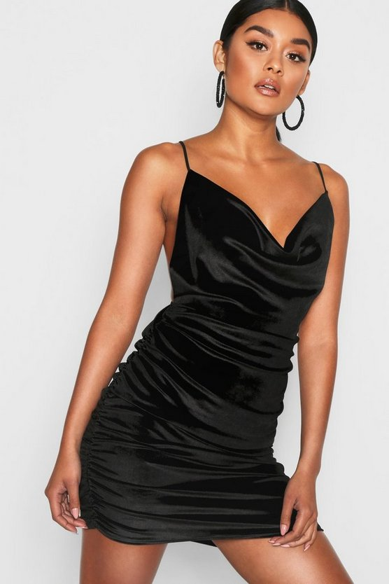Womens Black Velvet Cowl Neck Ruched Bodycon Dress