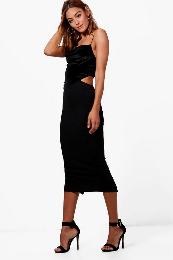 Cowl Neck Velvet Contrast Midi Dress