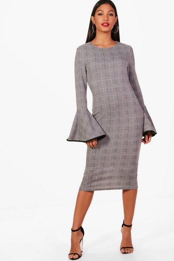 Diana Check Fluted Sleeve Midi Dress