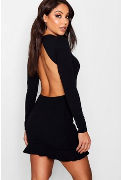 Womens Open Back Frill Hem Bodycon Dress