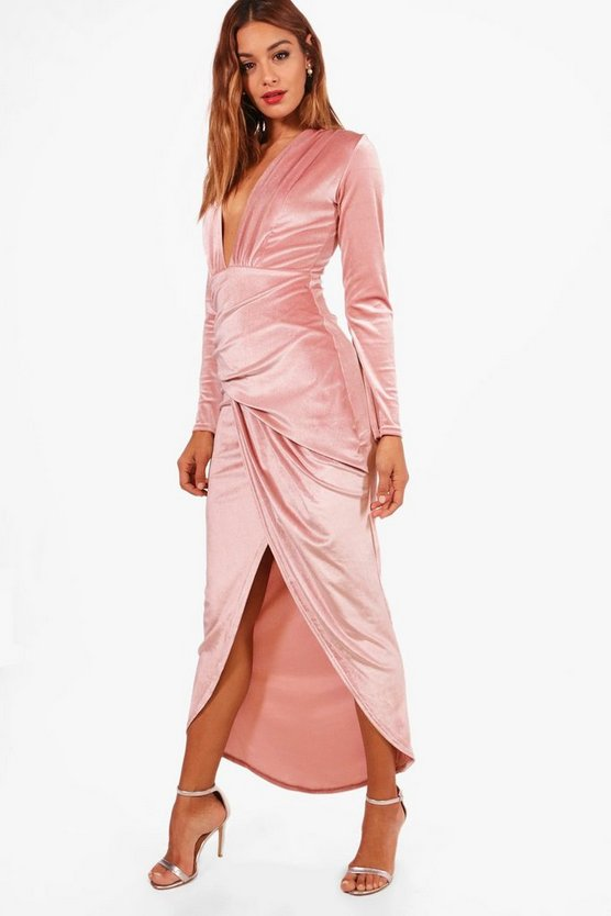 Velvet Ruched Detail Maxi Dress