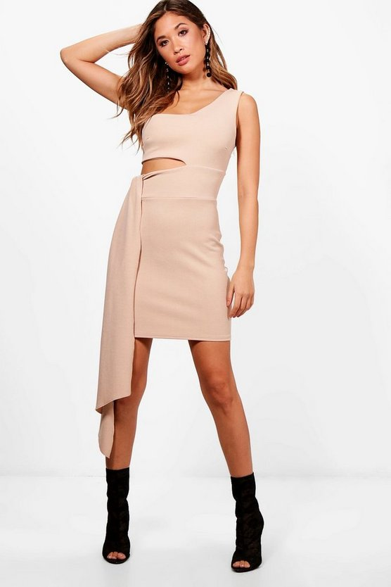 One Shoulder Cut Out Drape Bodycon Dress