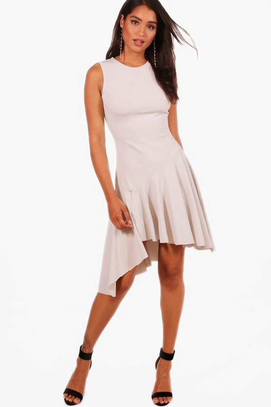 Asymmetric Hem Skater Dress