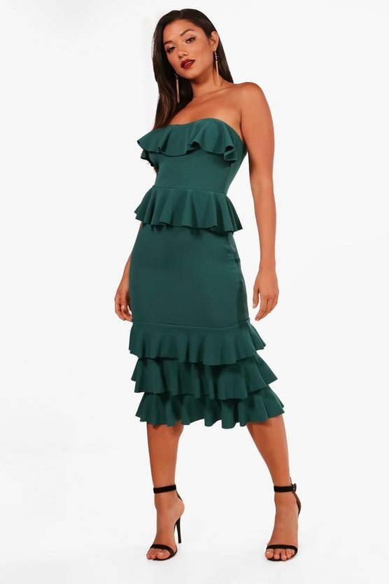 Bandeau Ruffle Midi Dress