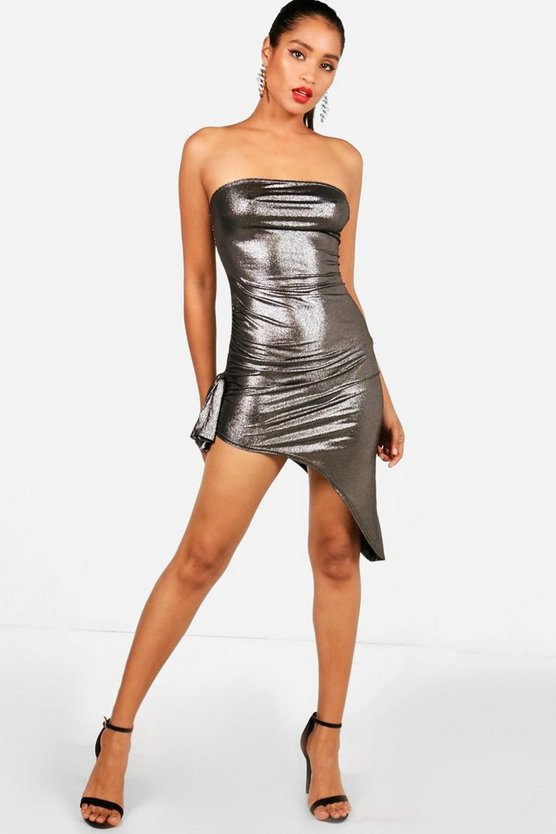 Rose Metallic Bandeau Bodycon Dress