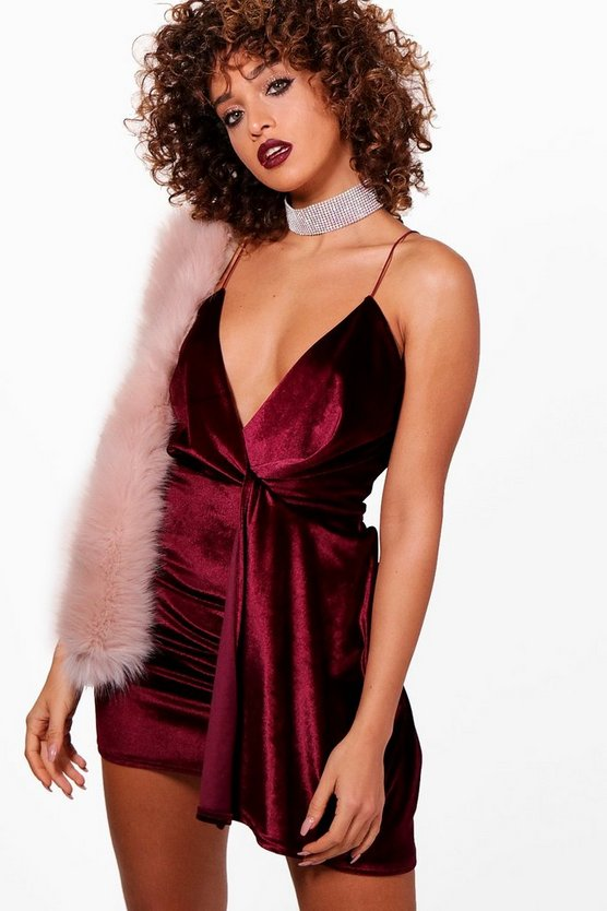 Velvet Plunge Neck Drape Bodycon Dress
