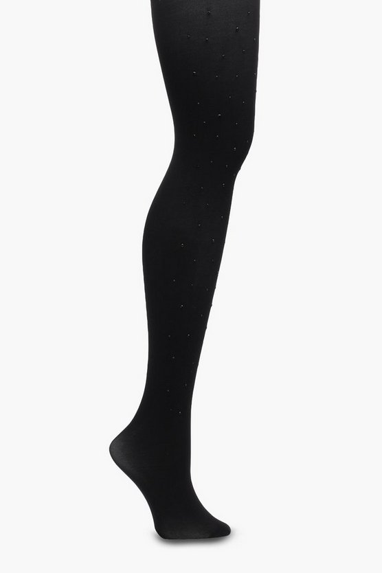 Ellie Embellished Denier Tights, Black, FEMMES
