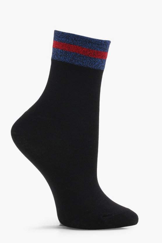Glitter Sports Stripe Top Ankle Socks