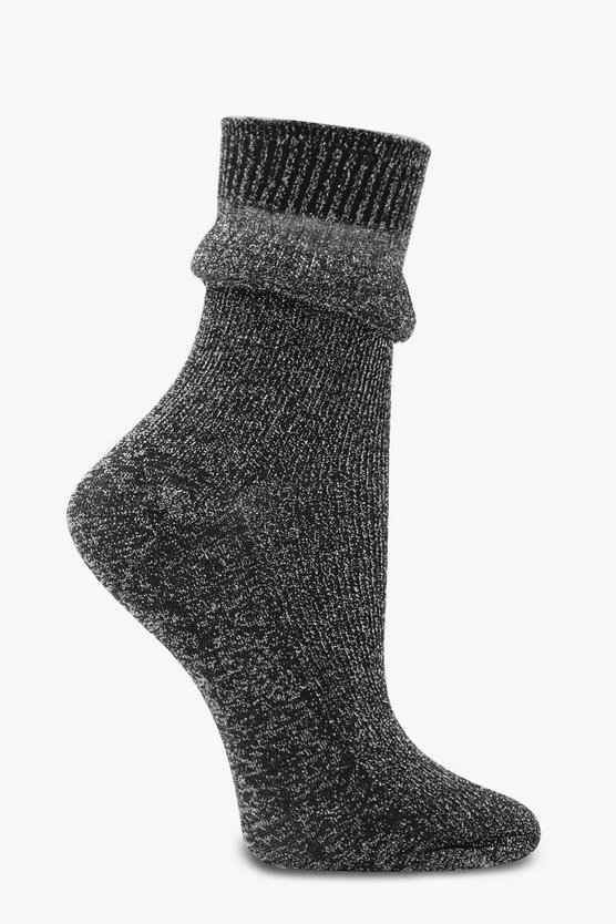 Willow Ribbed Glitter Gathered Ankle Socks