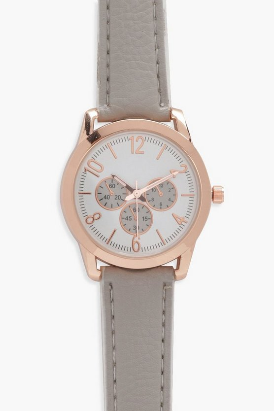 Lola Multi Dial Leather Look Strap Watch