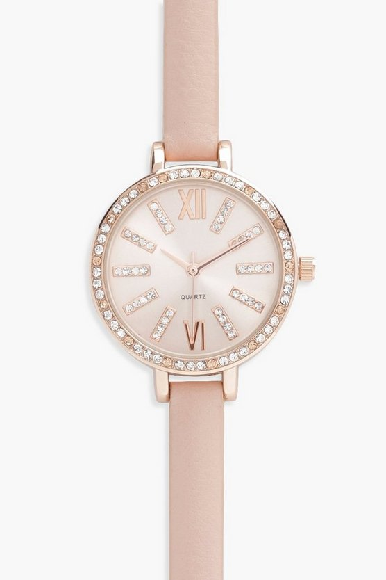 Daisy Diamante Face & Dial Leather Look Strap Watch