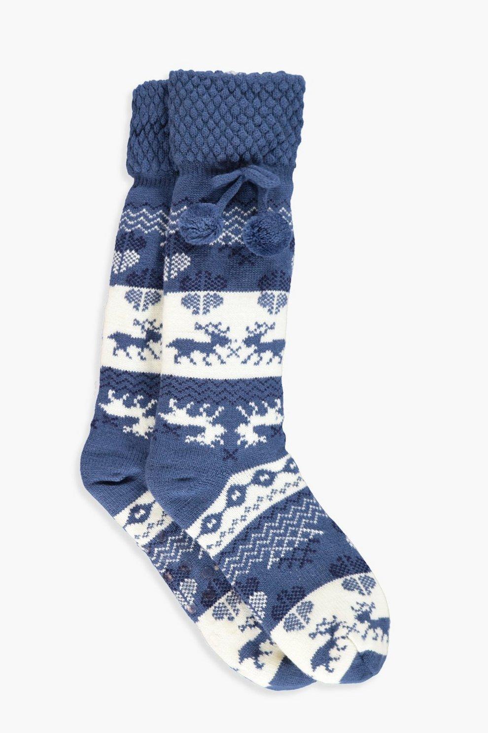 Ava Chunky Knitted Fairisle Fleece Lined Socks Boohoo