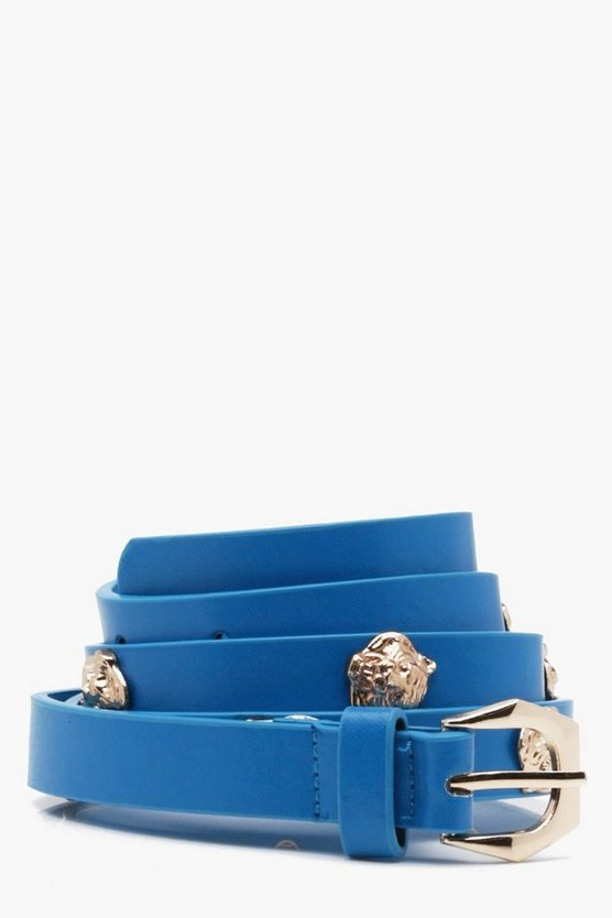 Jessica Lion Charm Studded PU Belt