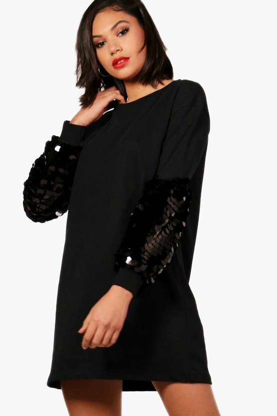 Sequin Sleeve Sweat Dress