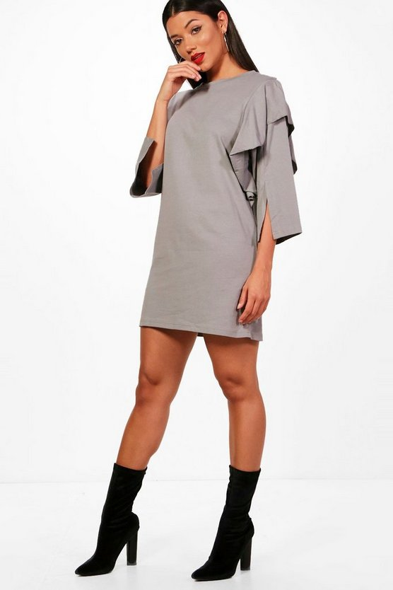 Ruffle Sleeve Thick Jersey T-Shirt Dress