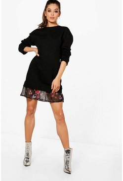 Womens Black Floral Double Layer Sweat Dress
