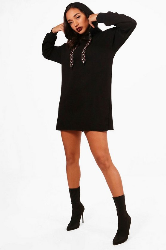 Jewelled Drawcord Hooded Sweat Dress