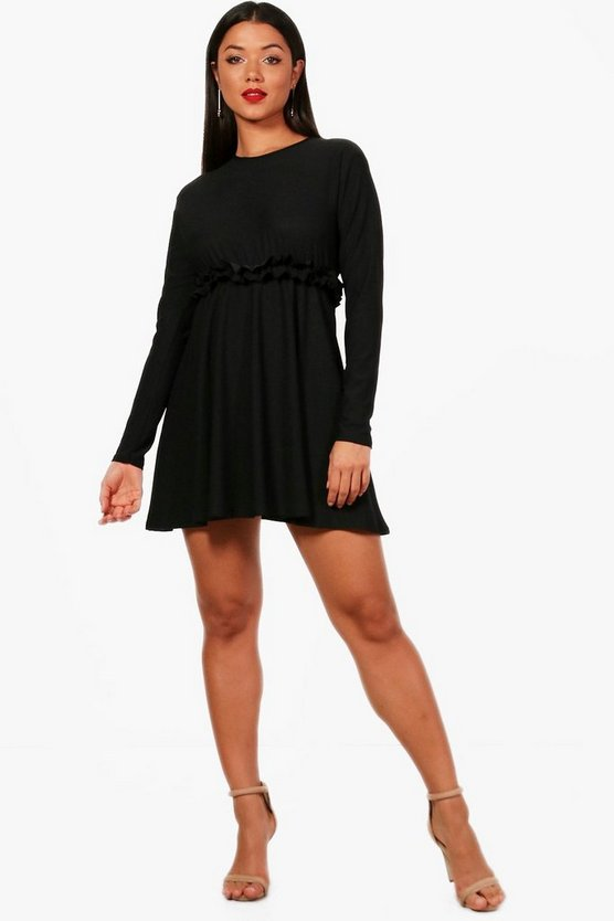 Womens Black Micro Ruffle Skater Dress